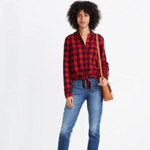 Madewell | NWT Tie-Front Shirt in Buffalo Check XL